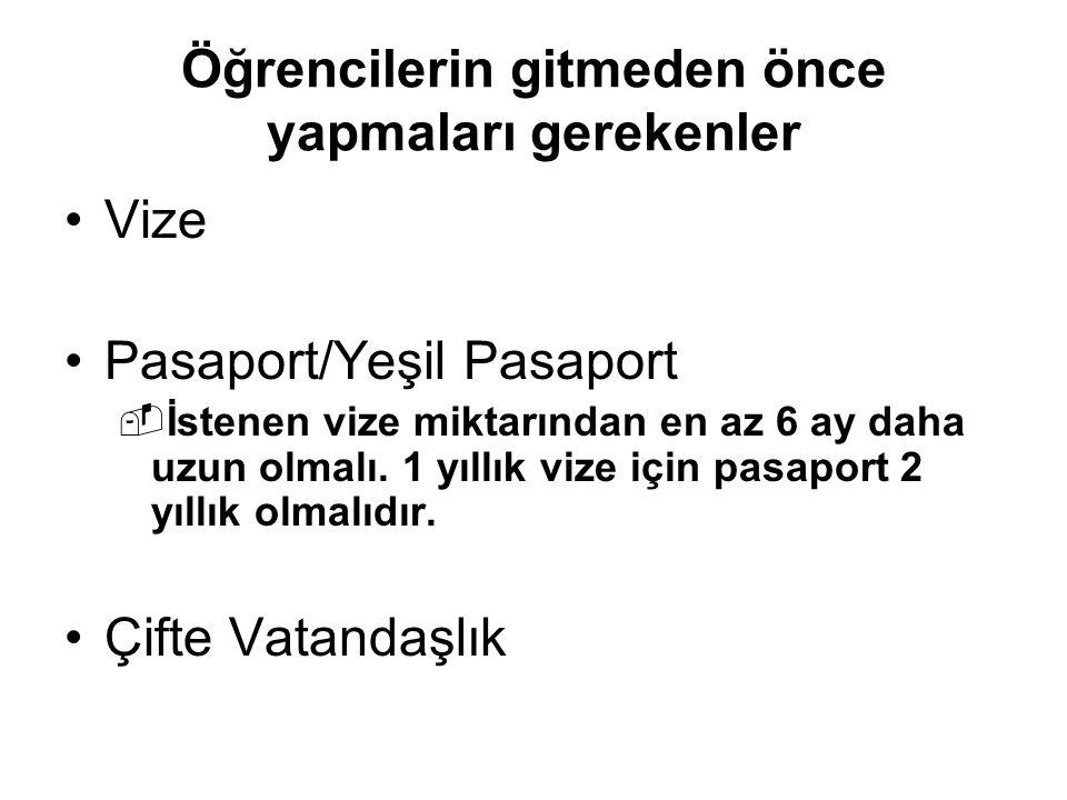 Öğrencilerin gitmeden önce yapmaları gerekenler Vize Pasaport/Yeşil Pasaport  İstenen vize miktarından en az 6 ay daha uzun olmalı.