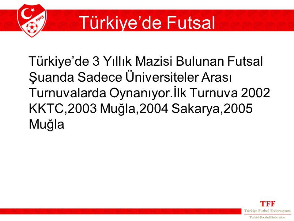 Türkiye'de Futsal Türkiye'de 3 Yıllık Mazisi Bulunan Futsal Şuanda Sadece Üniversiteler Arası Turnuvalarda Oynanıyor.İlk Turnuva 2002 KKTC,2003 Muğla,