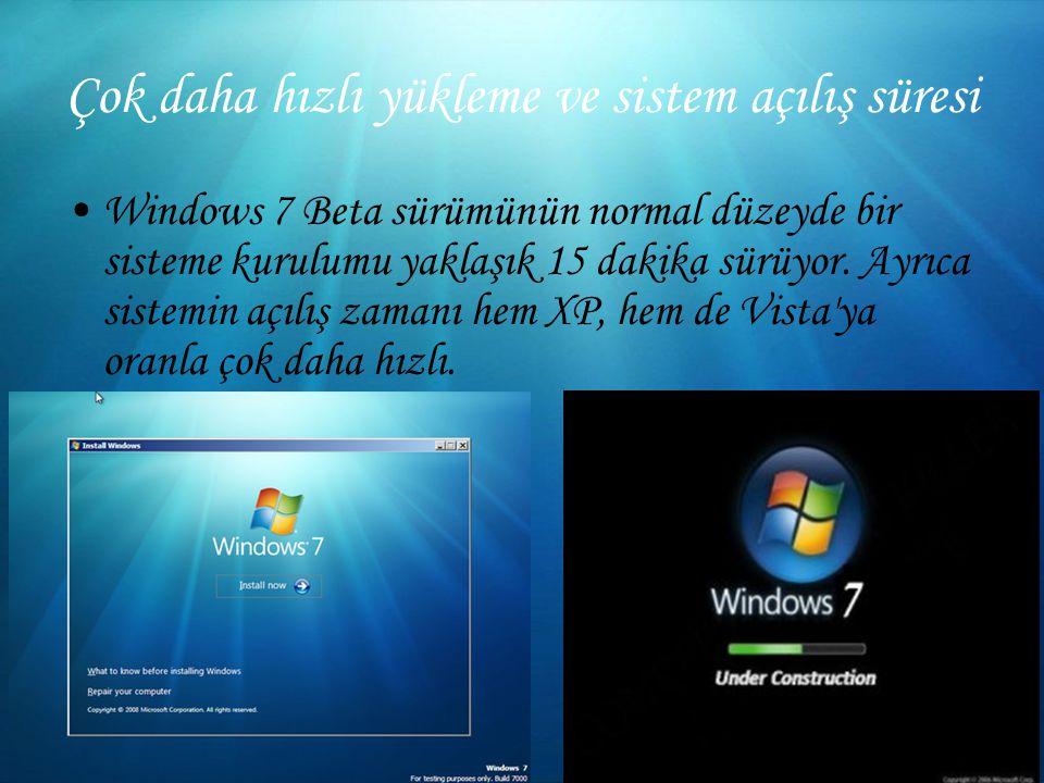 Çok daha hızlı yükleme ve sistem açılış süresi Windows 7 Beta sürümünün normal düzeyde bir sisteme kurulumu yaklaşık 15 dakika sürüyor.