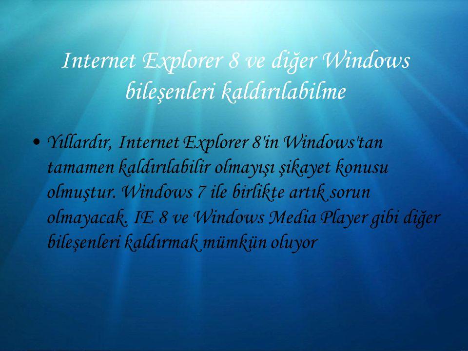 Internet Explorer 8 ve diğer Windows bileşenleri kaldırılabilme Yıllardır, Internet Explorer 8 in Windows tan tamamen kaldırılabilir olmayışı şikayet konusu olmuştur.