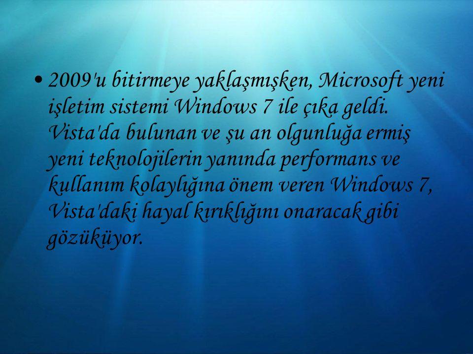 2009 u bitirmeye yaklaşmışken, Microsoft yeni işletim sistemi Windows 7 ile çıka geldi.
