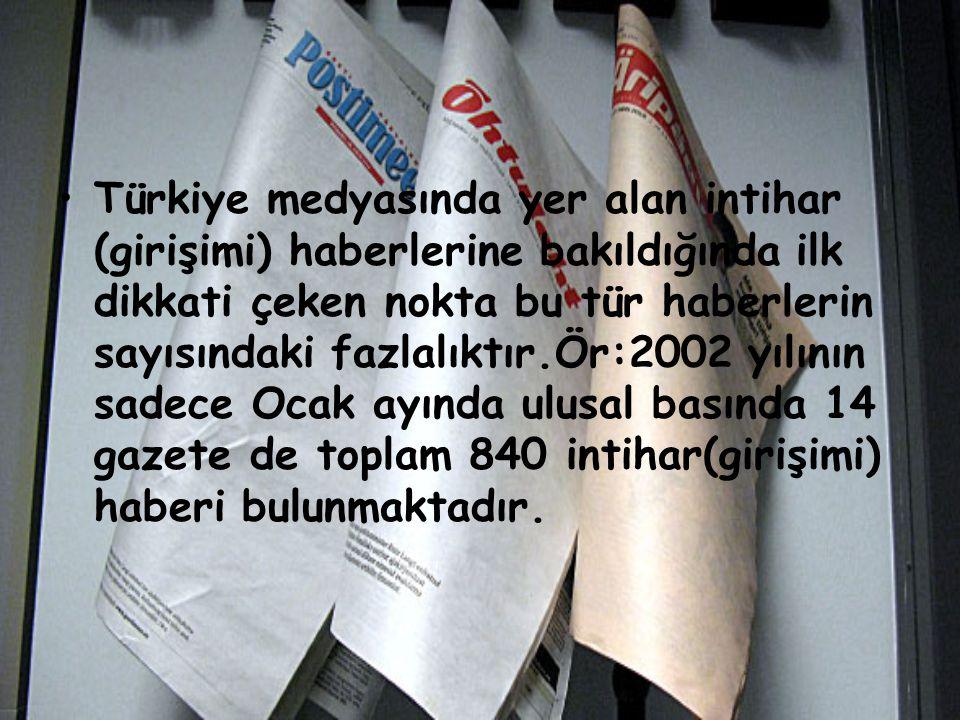 Türkiye medyasında yer alan intihar (girişimi) haberlerine bakıldığında ilk dikkati çeken nokta bu tür haberlerin sayısındaki fazlalıktır.Ör:2002 yılı