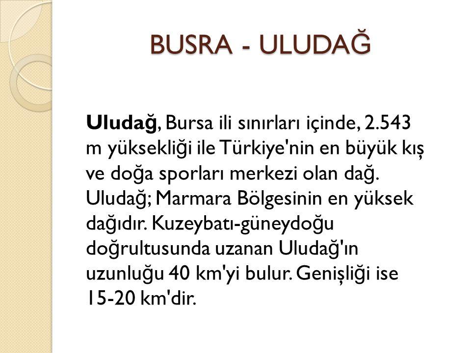 BUSRA - ULUDA Ğ BUSRA - ULUDA Ğ Uluda ğ, Bursa ili sınırları içinde, 2.543 m yüksekli ğ i ile Türkiye nin en büyük kış ve do ğ a sporları merkezi olan da ğ.
