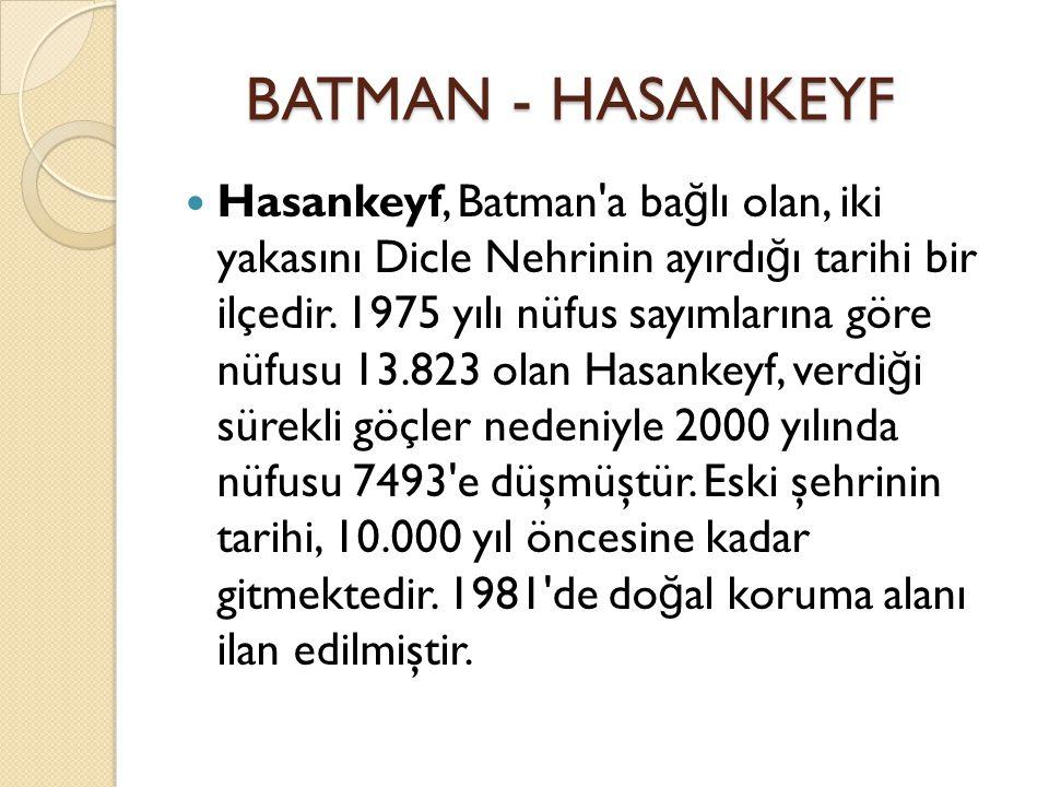 Hasankeyf, Batman a ba ğ lı olan, iki yakasını Dicle Nehrinin ayırdı ğ ı tarihi bir ilçedir.