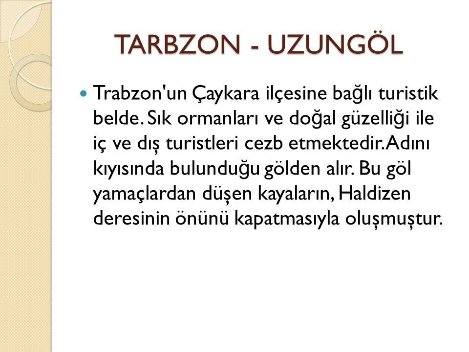 TARBZON - UZUNGÖL TARBZON - UZUNGÖL Trabzon un Çaykara ilçesine ba ğ lı turistik belde.