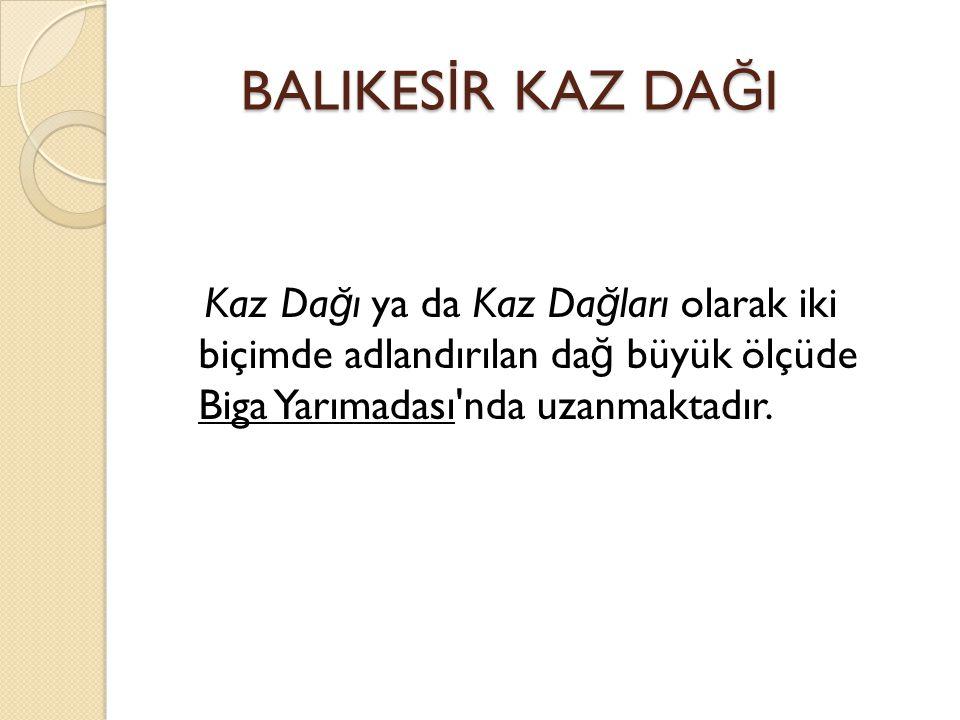 BALIKES İ R KAZ DA Ğ I BALIKES İ R KAZ DA Ğ I Kaz Da ğ ı ya da Kaz Da ğ ları olarak iki biçimde adlandırılan da ğ büyük ölçüde Biga Yarımadası nda uzanmaktadır.
