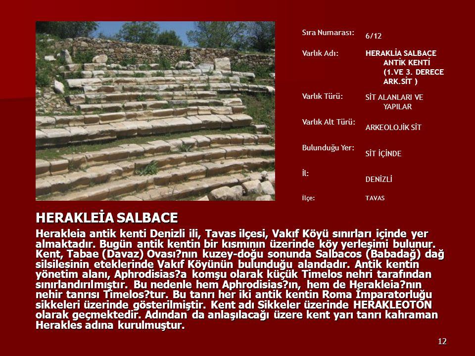 12 HERAKLEİA SALBACE Herakleia antik kenti Denizli ili, Tavas ilçesi, Vakıf Köyü sınırları içinde yer almaktadır. Bugün antik kentin bir kısmının üzer