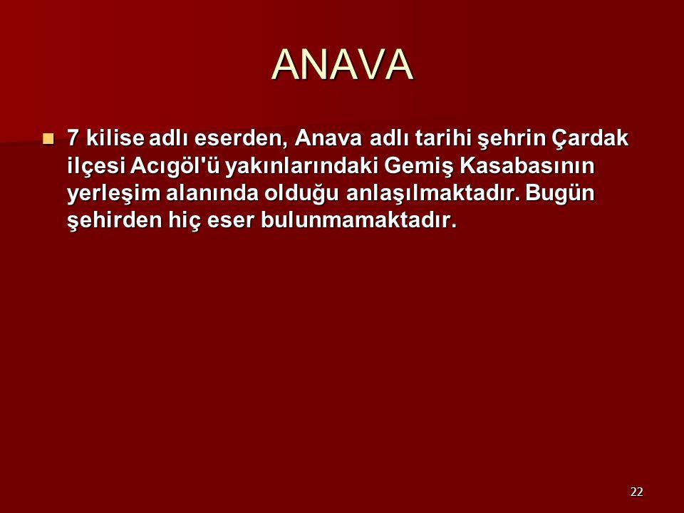 22 ANAVA 7 kilise adlı eserden, Anava adlı tarihi şehrin Çardak ilçesi Acıgöl'ü yakınlarındaki Gemiş Kasabasının yerleşim alanında olduğu anlaşılmakta