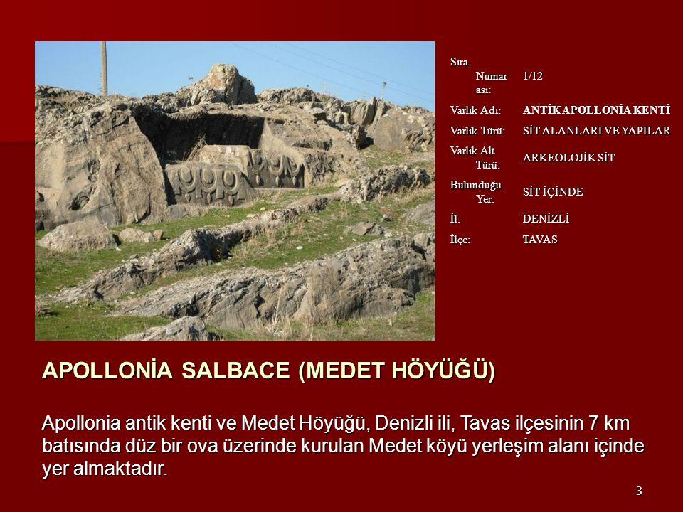 3 Sıra Numar ası: 1/12 Varlık Adı: ANTİK APOLLONİA KENTİ Varlık Türü: SİT ALANLARI VE YAPILAR Varlık Alt Türü: ARKEOLOJİK SİT Bulunduğu Yer: SİT İÇİNDE İl: DENİZLİ İlçe: TAVAS APOLLONİA SALBACE (MEDET HÖYÜĞÜ) Apollonia antik kenti ve Medet Höyüğü, Denizli ili, Tavas ilçesinin 7 km batısında düz bir ova üzerinde kurulan Medet köyü yerleşim alanı içinde yer almaktadır.
