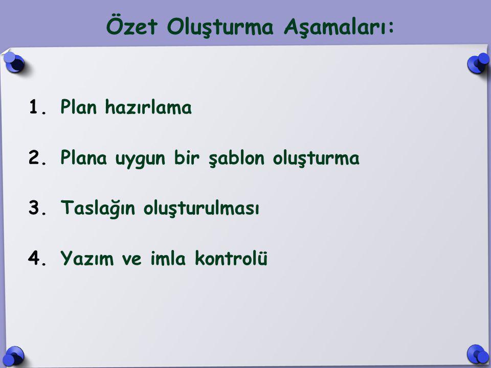 Özet Oluşturma Aşamaları: 1.Plan hazırlama 2.Plana uygun bir şablon oluşturma 3.Taslağın oluşturulması 4.Yazım ve imla kontrolü