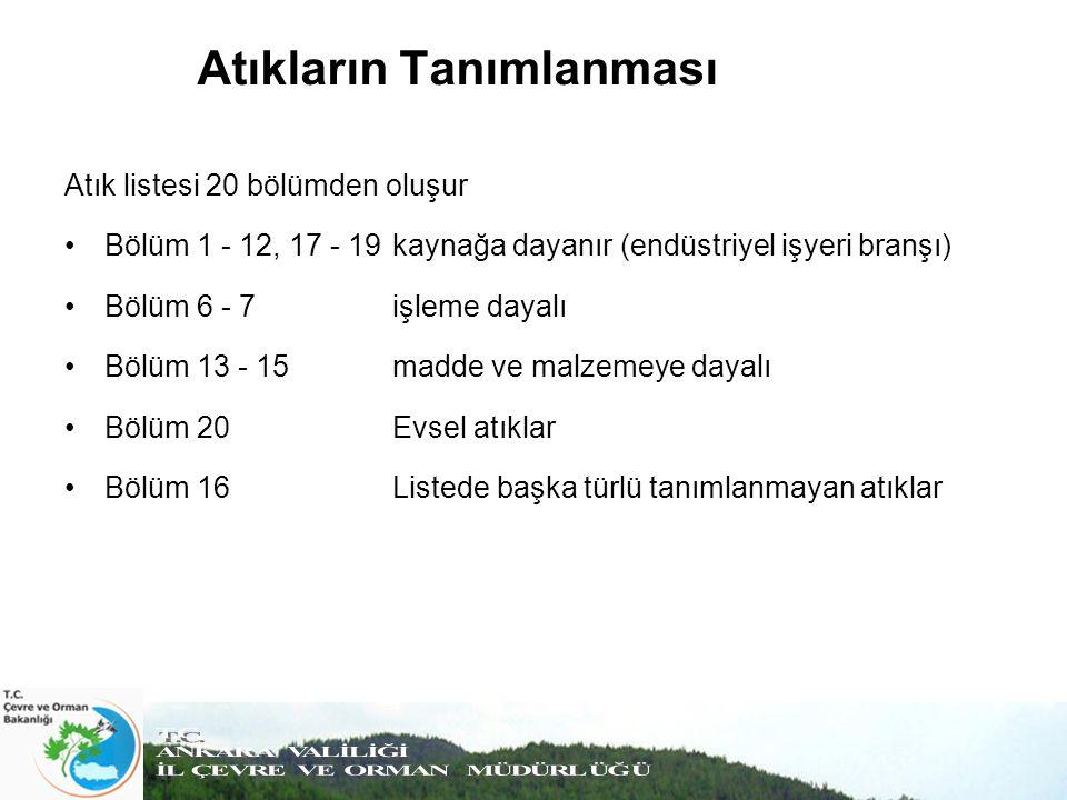 Atıkların Tanımlanması Atık listesi 20 bölümden oluşur Bölüm 1 - 12, 17 - 19 kaynağa dayanır (endüstriyel işyeri branşı) Bölüm 6 - 7 işleme dayalı Böl