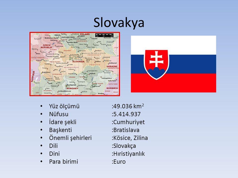 Slovakya Yüz ölçümü:49.036 km 2 Nüfusu:5.414.937 İdare şekli:Cumhuriyet Başkenti:Bratislava Önemli şehirleri :Kösice, Zilina Dili:Slovakça Dini:Hıristiyanlık Para birimi:Euro