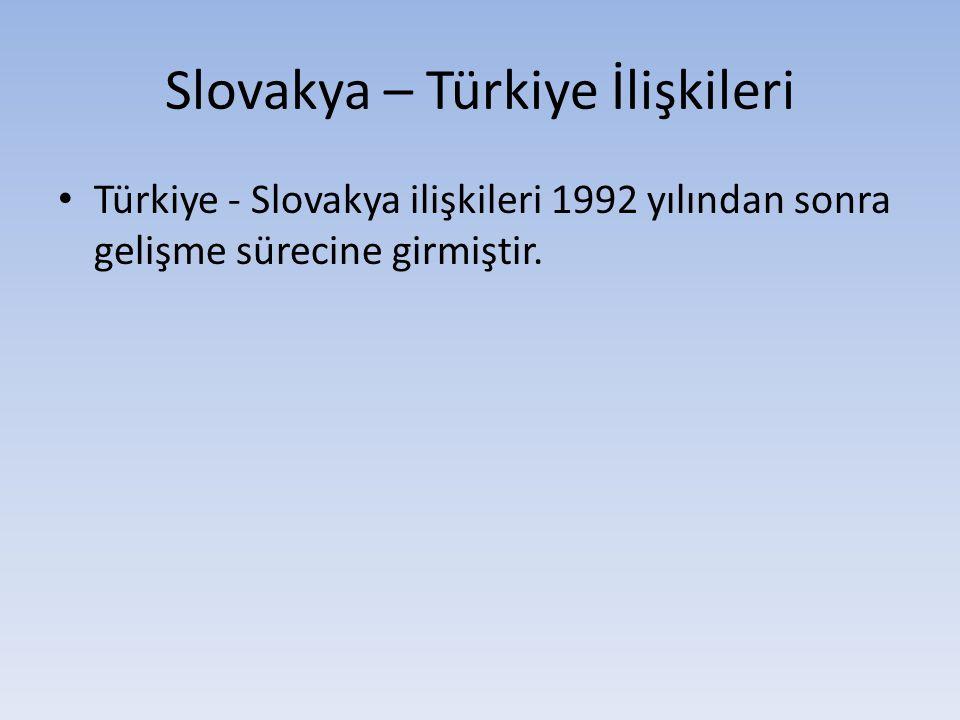 Slovakya – Türkiye İlişkileri Türkiye - Slovakya ilişkileri 1992 yılından sonra gelişme sürecine girmiştir.