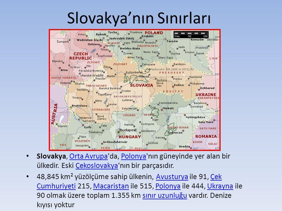 Slovakya'nın Sınırları Slovakya, Orta Avrupa'da, Polonya'nın güneyinde yer alan bir ülkedir. Eski Çekoslovakya'nın bir parçasıdır.Orta AvrupaPolonyaÇe