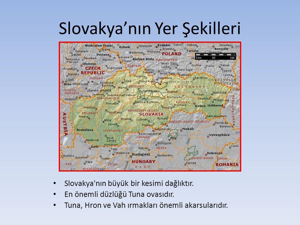 Slovakya'nın Yer Şekilleri Slovakya'nın büyük bir kesimi dağlıktır. En önemli düzlüğü Tuna ovasıdır. Tuna, Hron ve Vah ırmakları önemli akarsularıdır.
