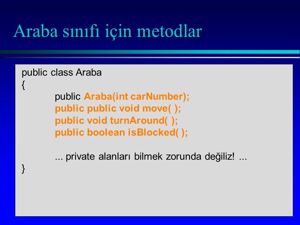 public static void main(...) { Araba racer = new Araba(7);...