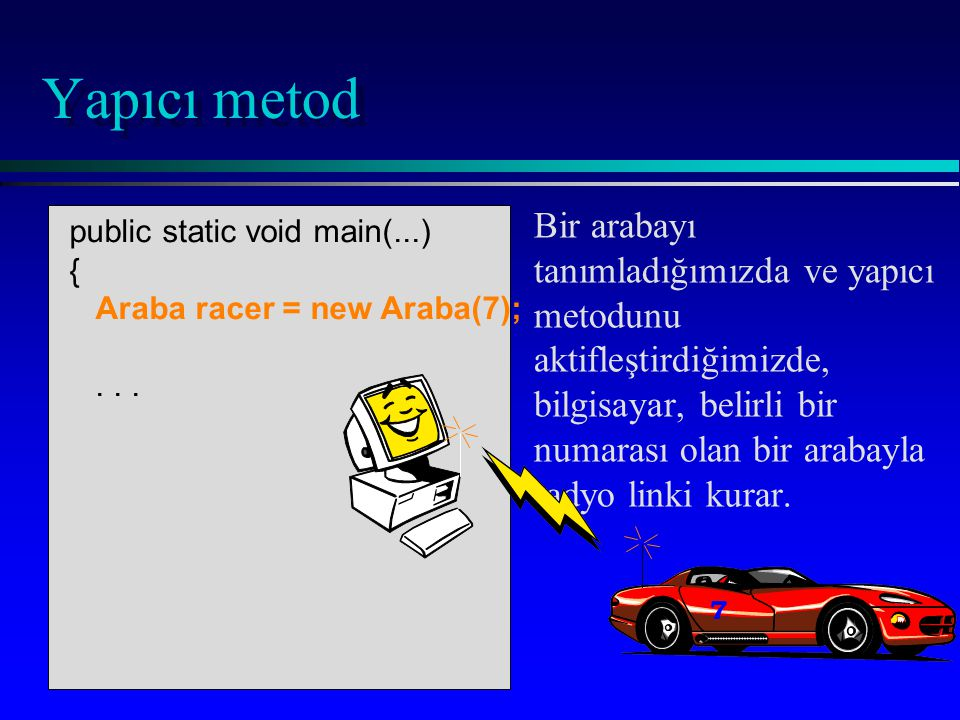 public static void main(...) { Araba racer = new Araba(7);...