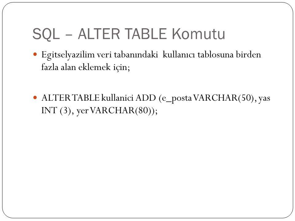 SQL – ALTER TABLE Komutu Egitselyazilim veri tabanındaki kullanıcı tablosuna birden fazla alan eklemek için; ALTER TABLE kullanici ADD (e_posta VARCHA