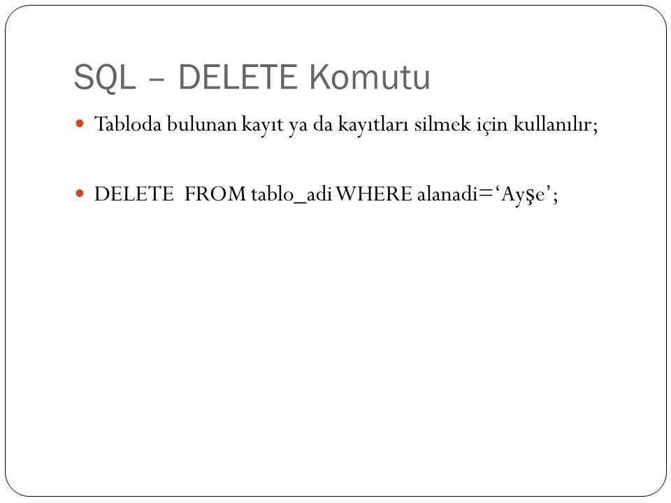 SQL – DELETE Komutu Tabloda bulunan kayıt ya da kayıtları silmek için kullanılır; DELETE FROM tablo_adi WHERE alanadi='Ay ş e';