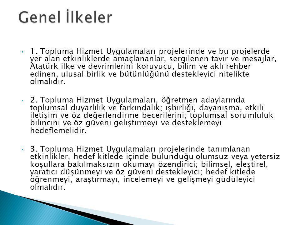 1. Topluma Hizmet Uygulamaları projelerinde ve bu projelerde yer alan etkinliklerde amaçlananlar, sergilenen tavır ve mesajlar, Atatürk ilke ve devrim