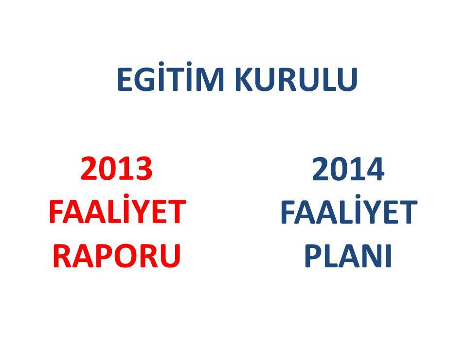 EGİTİM KURULU 2013 FAALİYET RAPORU 2014 FAALİYET PLANI