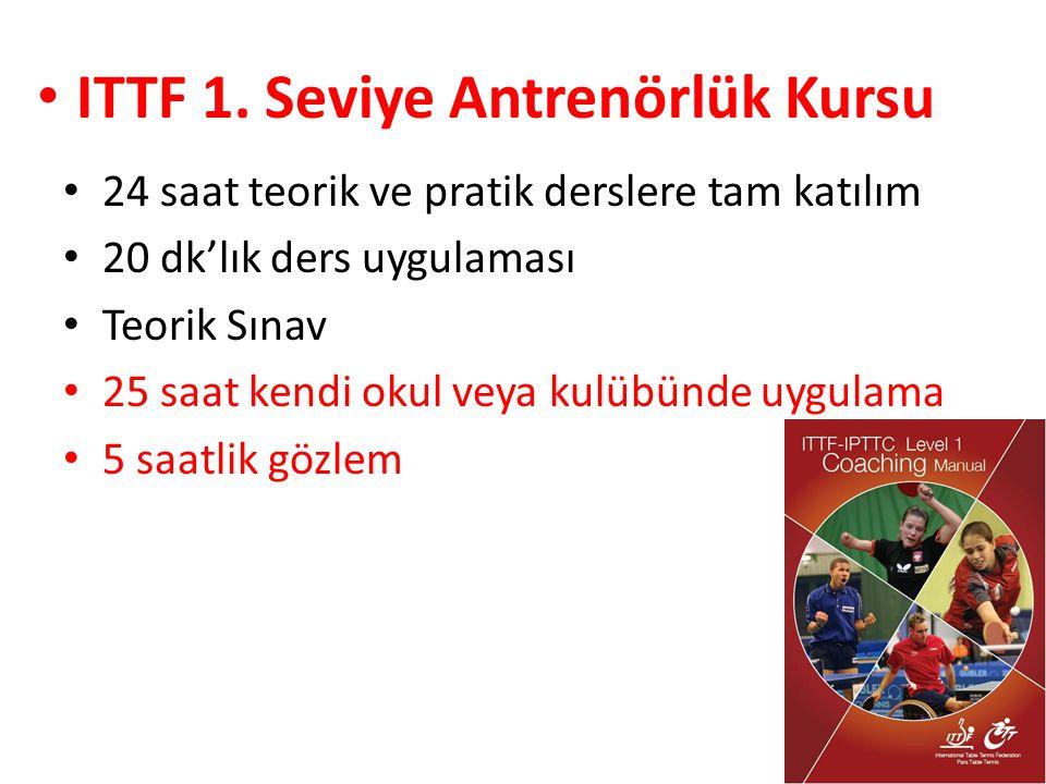 24 saat teorik ve pratik derslere tam katılım 20 dk'lık ders uygulaması Teorik Sınav 25 saat kendi okul veya kulübünde uygulama 5 saatlik gözlem ITTF 1.