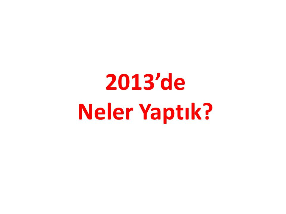 2013'de Neler Yaptık?