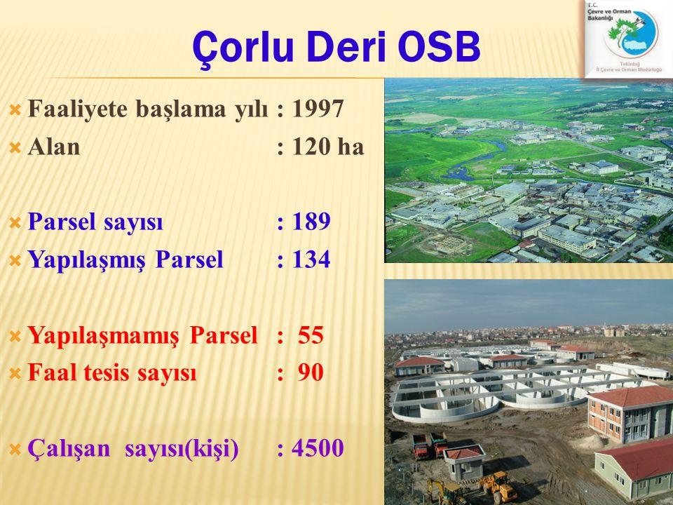 Çorlu Deri OSB  Faaliyete başlama yılı: 1997  Alan : 120 ha  Parsel sayısı: 189  Yapılaşmış Parsel : 134  Yapılaşmamış Parsel: 55  Faal tesis sa
