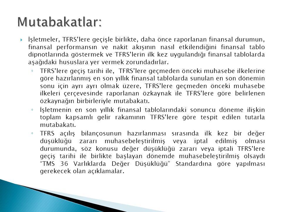  İşletmeler, TFRS'lere geçişle birlikte, daha önce raporlanan finansal durumun, finansal performansın ve nakit akışının nasıl etkilendiğini finansal tablo dipnotlarında göstermek ve TFRS'lerin ilk kez uygulandığı finansal tablolarda aşağıdaki hususlara yer vermek zorundadırlar.