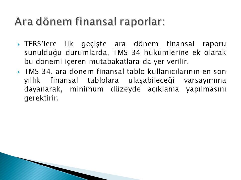  TFRS'lere ilk geçişte ara dönem finansal raporu sunulduğu durumlarda, TMS 34 hükümlerine ek olarak bu dönemi içeren mutabakatlara da yer verilir.