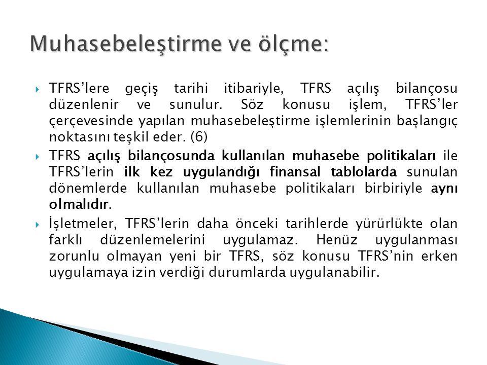  TFRS'lere geçiş tarihi itibariyle, TFRS açılış bilançosu düzenlenir ve sunulur.