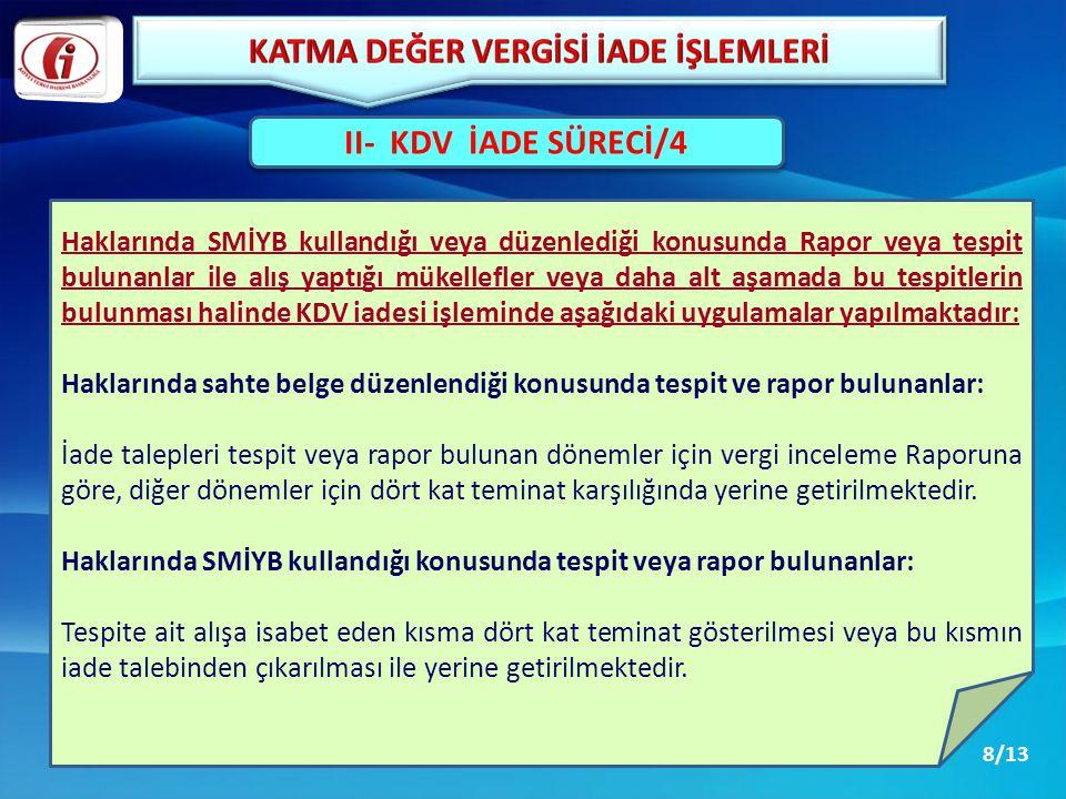 II- KDV İADE SÜRECİ/4 Haklarında SMİYB kullandığı veya düzenlediği konusunda Rapor veya tespit bulunanlar ile alış yaptığı mükellefler veya daha alt a