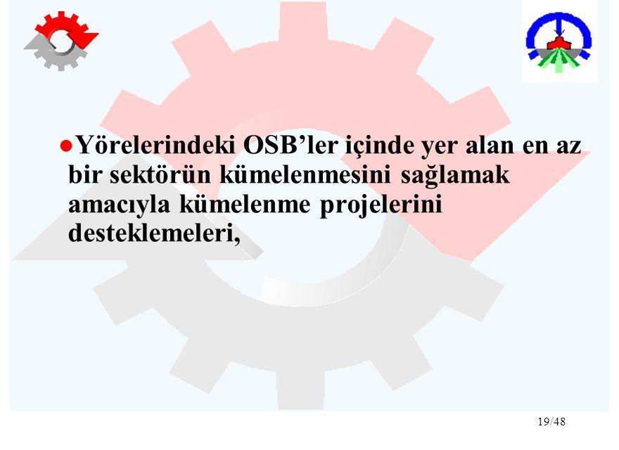 19/48 ●Yörelerindeki OSB'ler içinde yer alan en az bir sektörün kümelenmesini sağlamak amacıyla kümelenme projelerini desteklemeleri,