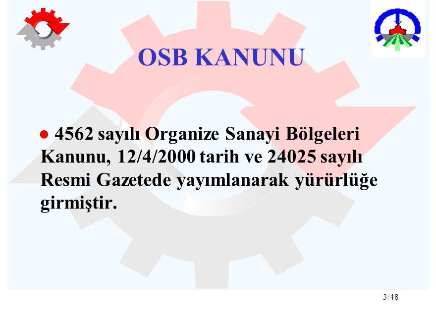 3/48 OSB KANUNU ● 4562 sayılı Organize Sanayi Bölgeleri Kanunu, 12/4/2000 tarih ve 24025 sayılı Resmi Gazetede yayımlanarak yürürlüğe girmiştir.