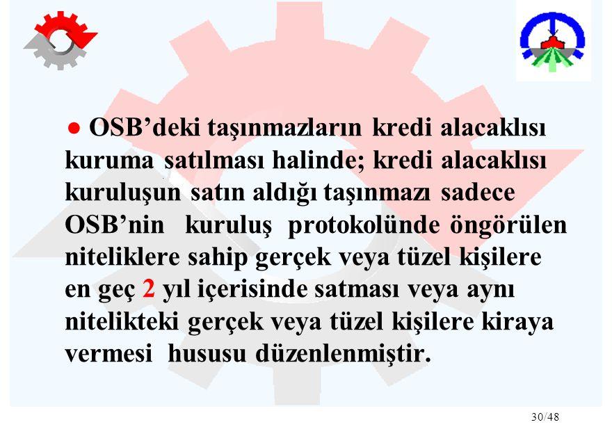30/48 ● OSB'deki taşınmazların kredi alacaklısı kuruma satılması halinde; kredi alacaklısı kuruluşun satın aldığı taşınmazı sadece OSB'nin kuruluş pro