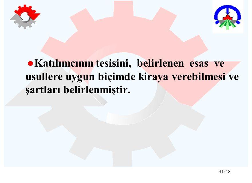 31/48 ●Katılımcının tesisini, belirlenen esas ve usullere uygun biçimde kiraya verebilmesi ve şartları belirlenmiştir.