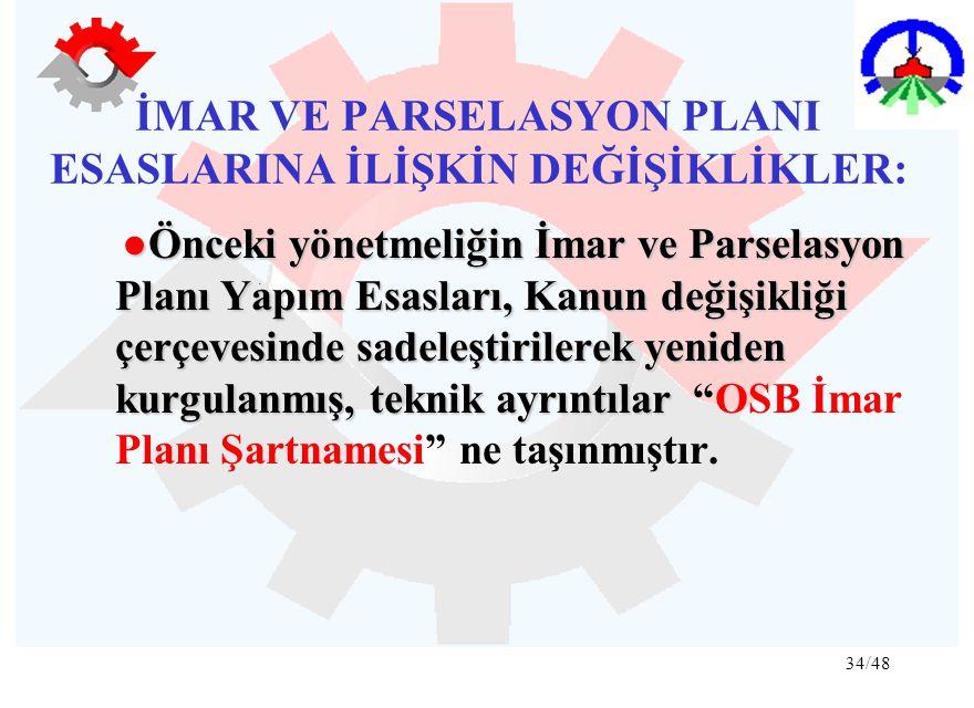 34/48 İMAR VE PARSELASYON PLANI ESASLARINA İLİŞKİN DEĞİŞİKLİKLER: ●Önceki yönetmeliğin İmar ve Parselasyon Planı Yapım Esasları, Kanun değişikliği çer