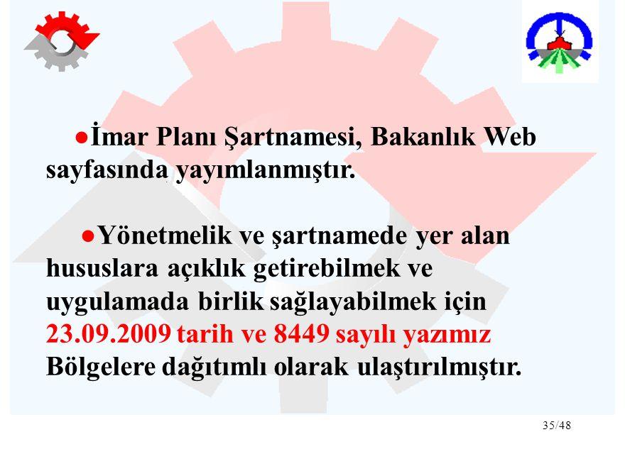 35/48 ● İmar Planı Şartnamesi, Bakanlık Web sayfasında yayımlanmıştır. ●Yönetmelik ve şartnamede yer alan hususlara açıklık getirebilmek ve uygulamada