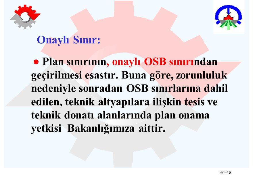36/48 Onaylı Sınır: ● Plan sınırının, onaylı OSB sınırından geçirilmesi esastır. Buna göre, zorunluluk nedeniyle sonradan OSB sınırlarına dahil edilen