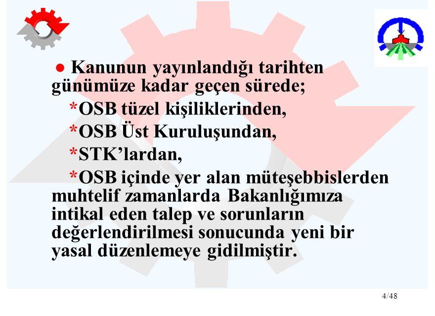 4/48 ● Kanunun yayınlandığı tarihten günümüze kadar geçen sürede; *OSB tüzel kişiliklerinden, *OSB Üst Kuruluşundan, *STK'lardan, *OSB içinde yer alan