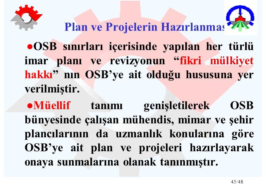 45/48 Plan ve Projelerin Hazırlanması: ●OSB sınırları içerisinde yapılan her türlü imar planı ve revizyonun fikri mülkiyet hakkı nın OSB'ye ait olduğu hususuna yer verilmiştir.