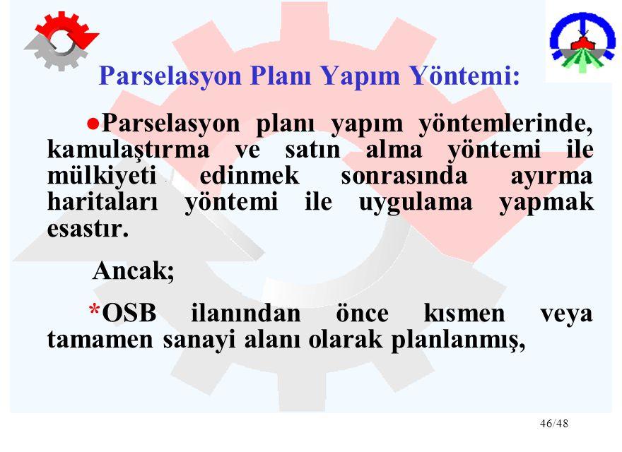 46/48 Parselasyon Planı Yapım Yöntemi: ●Parselasyon planı yapım yöntemlerinde, kamulaştırma ve satın alma yöntemi ile mülkiyeti edinmek sonrasında ayı