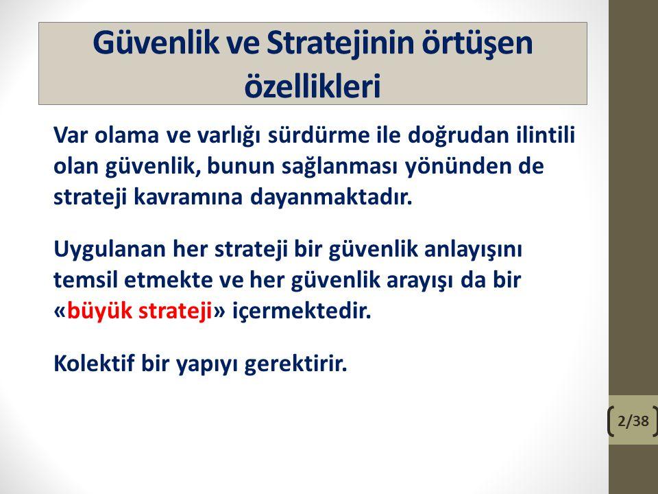 Güvenlik ve Stratejinin örtüşen özellikleri Var olama ve varlığı sürdürme ile doğrudan ilintili olan güvenlik, bunun sağlanması yönünden de strateji k