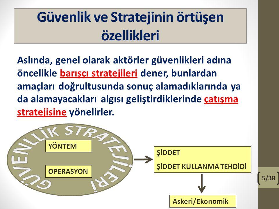 Güvenlik ve Stratejinin örtüşen özellikleri Aslında, genel olarak aktörler güvenlikleri adına öncelikle barışçı stratejileri dener, bunlardan amaçları