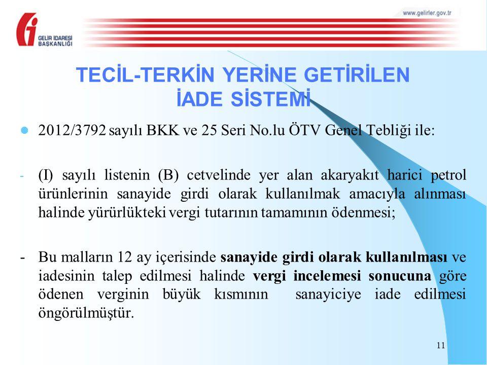 2012/3792 sayılı BKK ve 25 Seri No.lu ÖTV Genel Tebliği ile: - (I) sayılı listenin (B) cetvelinde yer alan akaryakıt harici petrol ürünlerinin sanayid
