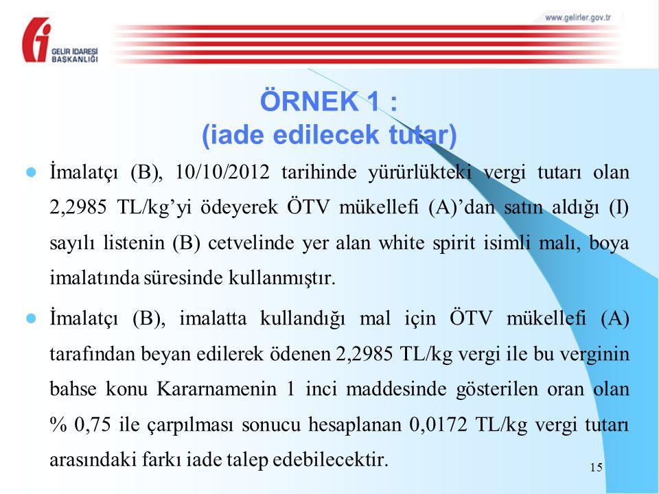 İmalatçı (B), 10/10/2012 tarihinde yürürlükteki vergi tutarı olan 2,2985 TL/kg'yi ödeyerek ÖTV mükellefi (A)'dan satın aldığı (I) sayılı listenin (B)