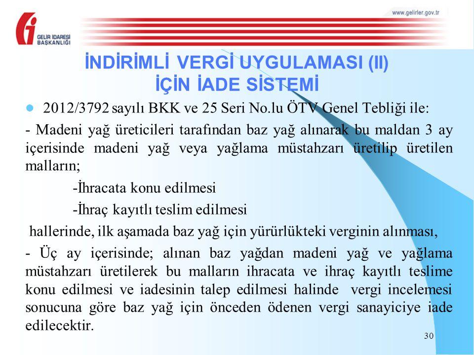 2012/3792 sayılı BKK ve 25 Seri No.lu ÖTV Genel Tebliği ile: - Madeni yağ üreticileri tarafından baz yağ alınarak bu maldan 3 ay içerisinde madeni yağ