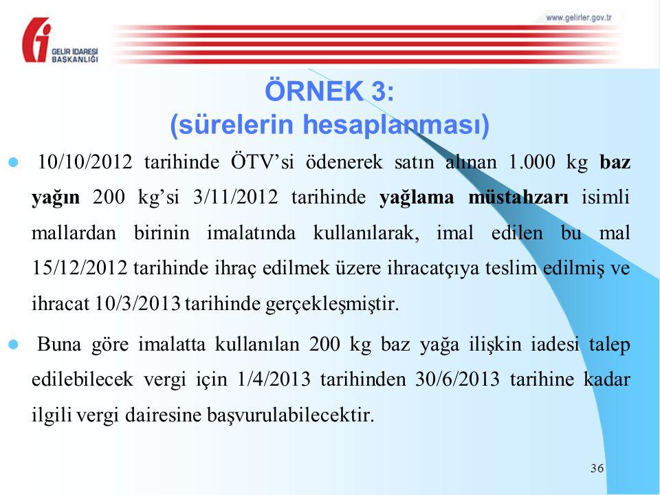 10/10/2012 tarihinde ÖTV'si ödenerek satın alınan 1.000 kg baz yağın 200 kg'si 3/11/2012 tarihinde yağlama müstahzarı isimli mallardan birinin imalatı