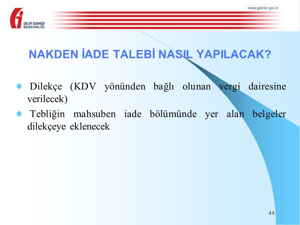 Dilekçe (KDV yönünden bağlı olunan vergi dairesine verilecek) Tebliğin mahsuben iade bölümünde yer alan belgeler dilekçeye eklenecek 44 NAKDEN İADE TA