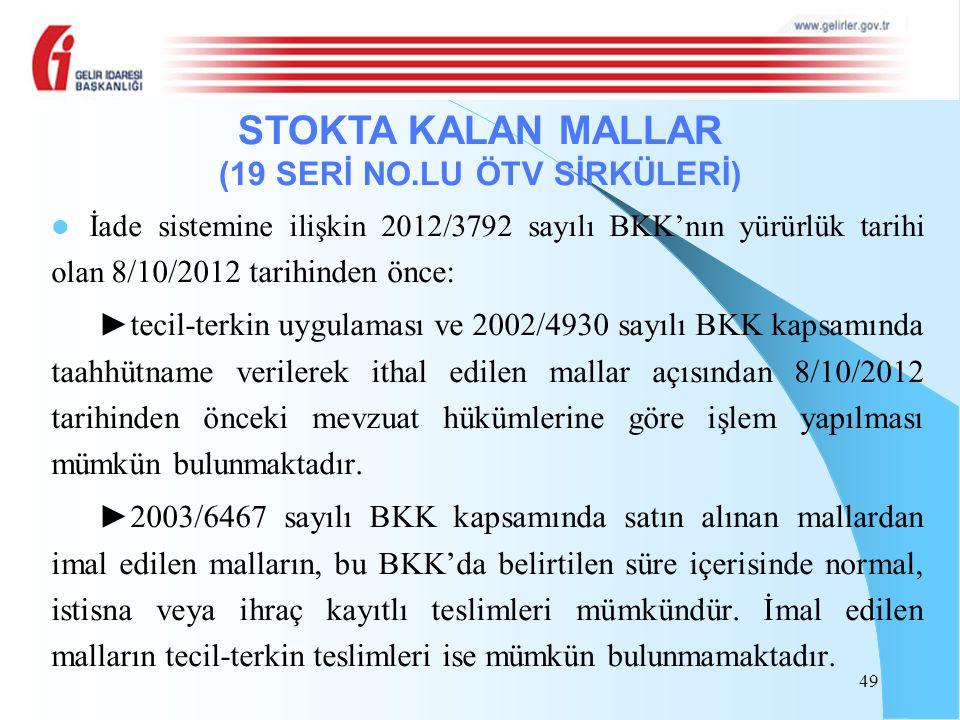 İade sistemine ilişkin 2012/3792 sayılı BKK'nın yürürlük tarihi olan 8/10/2012 tarihinden önce: ►tecil-terkin uygulaması ve 2002/4930 sayılı BKK kapsa